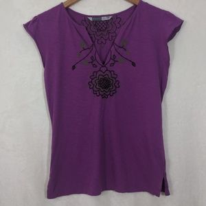 Athleta Fuchsia Embroidered Tee